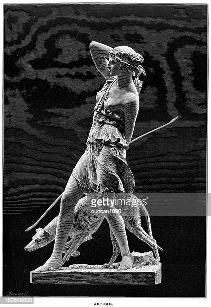 ancient statue of the goddess artemis - greek culture stock illustrations, clip art, cartoons, & icons
