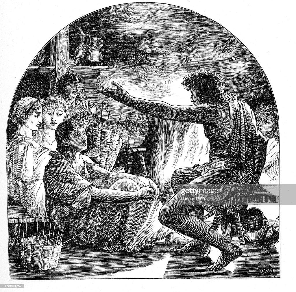 Ancient storytelling : stock illustration