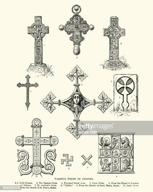 ancient symbols, various forms of crosses - christianity stock illustrations