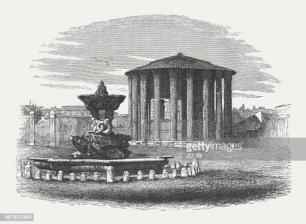 ancient temple of hercules victor in rome, published in 1878 - red cabbage stock illustrations, clip art, cartoons, & icons