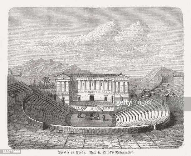 ancient theater of segesta, sicily, visual reconstruction, published in 1880 - sicily stock illustrations, clip art, cartoons, & icons