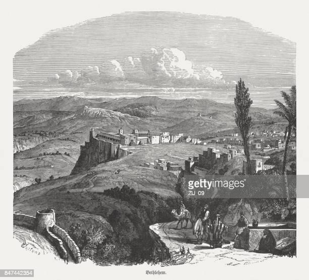 ilustrações de stock, clip art, desenhos animados e ícones de ancient view of bethlehem, wood engraving, published in 1886 - jerusalem antiga