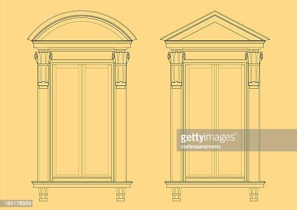 ancient window frame - pediment stock illustrations, clip art, cartoons, & icons