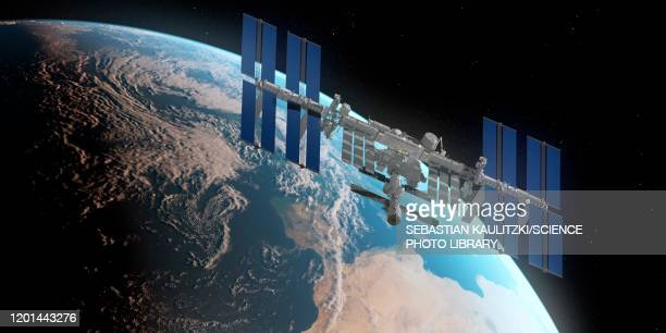 iss and earth, illustration - {{ contactusnotification.cta }} stock illustrations