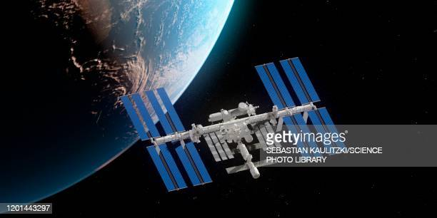 iss and earth, illustration - international space station stock illustrations