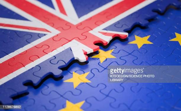 uk and eu flag jigsaw puzzle, - national flag stock illustrations