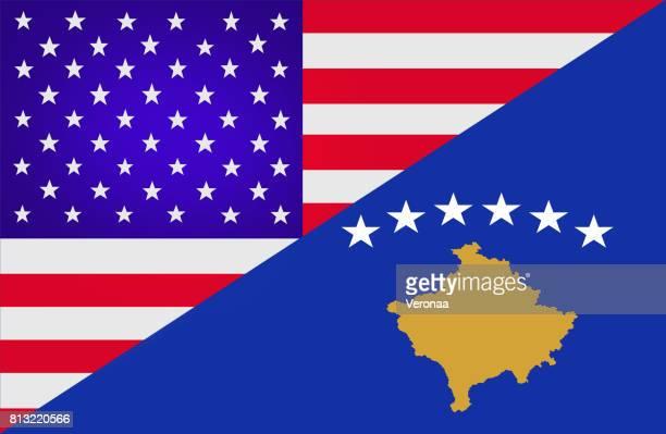 USA and Kosovo flag
