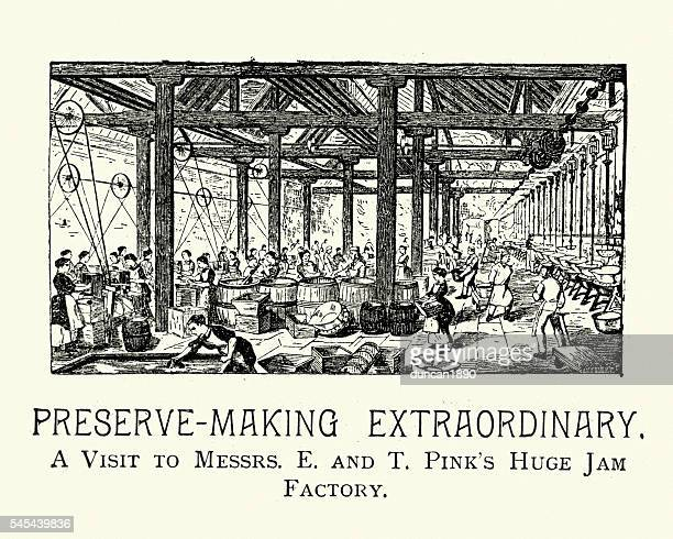 e and t pink's jam factory, 1894 - marmalade stock illustrations, clip art, cartoons, & icons