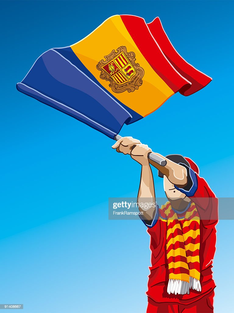 Andorra winken Flagge Fußball-Fan : Stock-Illustration