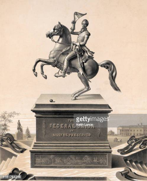 andrew jackson monument in washington d.c. - historical clothing stock illustrations