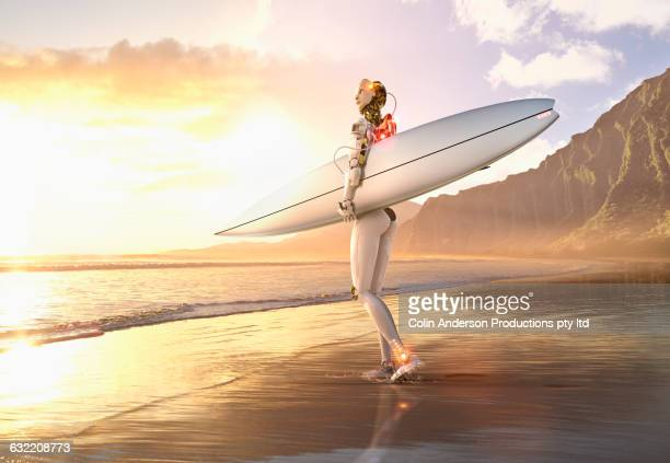 android carrying surfboard on beach - carefree stock illustrations