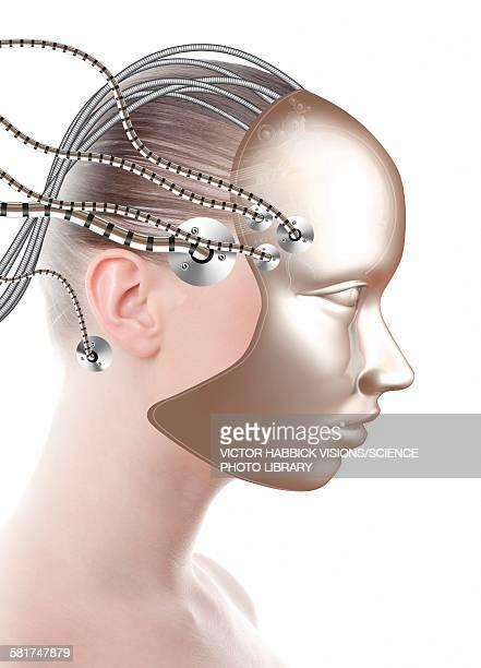 illustrazioni stock, clip art, cartoni animati e icone di tendenza di android, illustration - human face