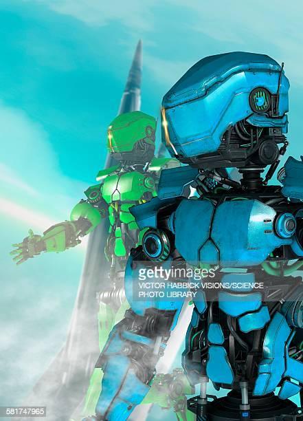androids, illustration - victor habbick stock illustrations