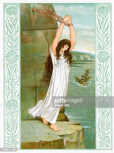 andromeda awaits the kraken - greek mythology stock illustrations, clip art, cartoons, & icons