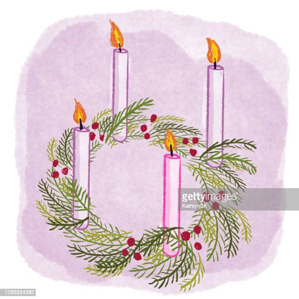 andvent wreath drawing with candles - kathrynsk stock illustrations