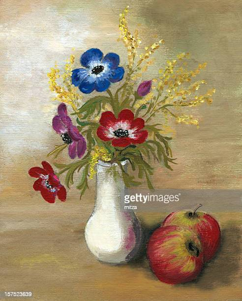 anemone arrangement with apples - ranunculus stock illustrations, clip art, cartoons, & icons