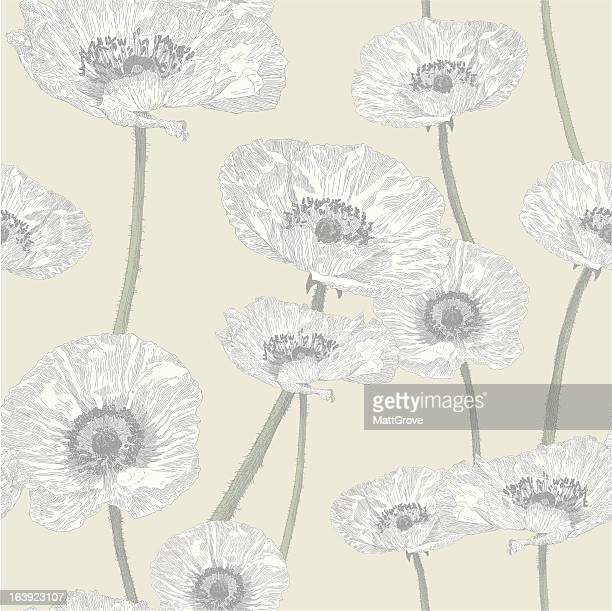 anemone seamless repeat - ranunculus stock illustrations, clip art, cartoons, & icons