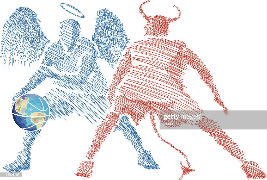 Angel and Devil playing basketball