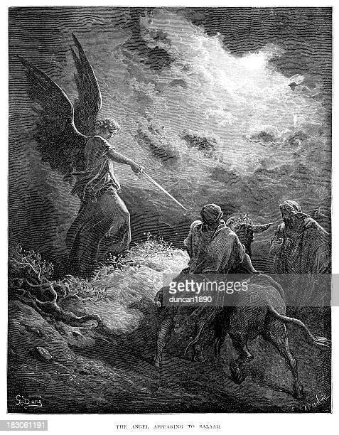 angel appearing to balaam - gustave dore stock illustrations, clip art, cartoons, & icons