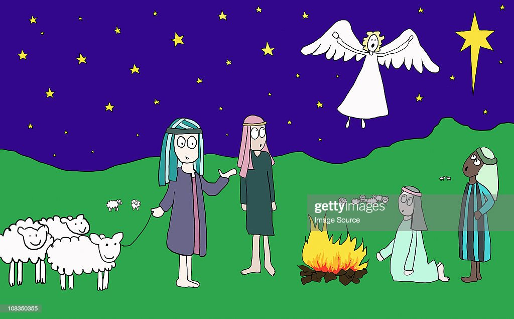 Angel appearing to shepherds : Stock Illustration