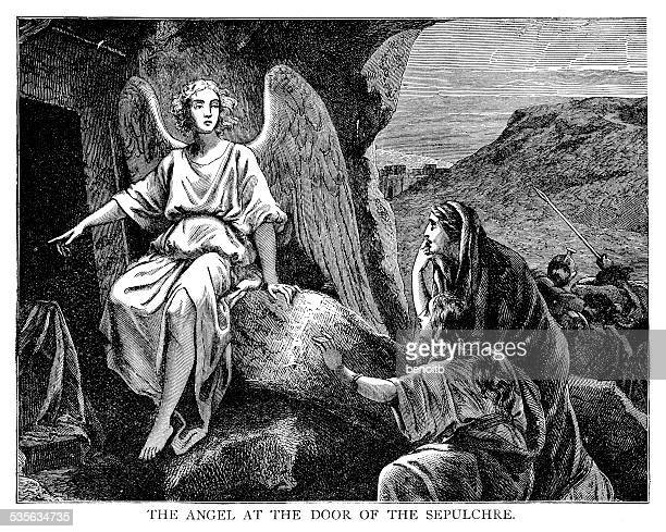 angel at the sepulchre - jesus tomb stock illustrations
