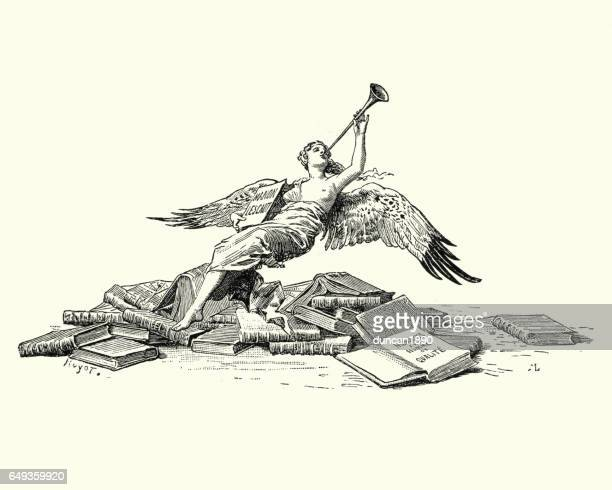 angel blowing the trumpet over a pile of books - trumpet stock illustrations, clip art, cartoons, & icons