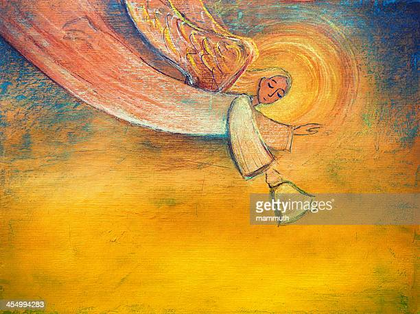 angel holding bell - spirituality stock illustrations, clip art, cartoons, & icons