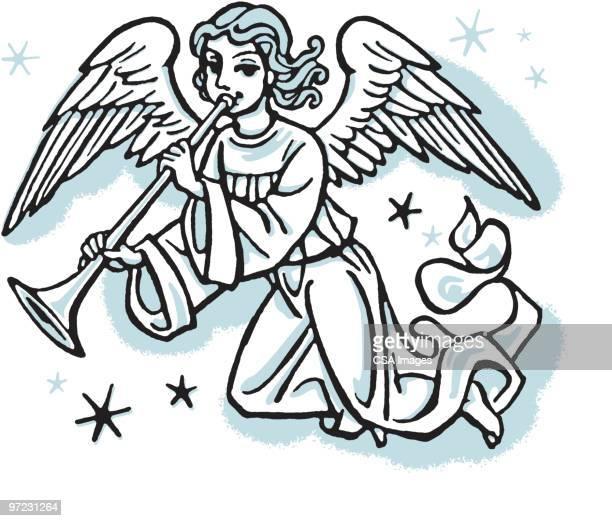 ilustraciones, imágenes clip art, dibujos animados e iconos de stock de angel - alas de angel