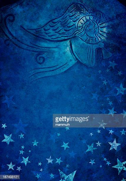 angel in blue starry background
