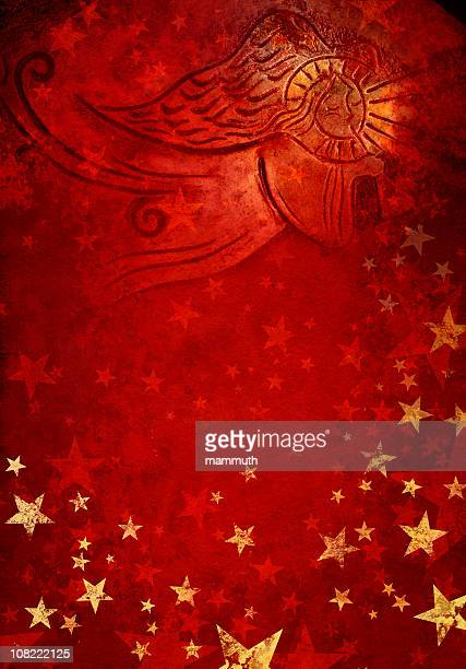 angel in red starry background
