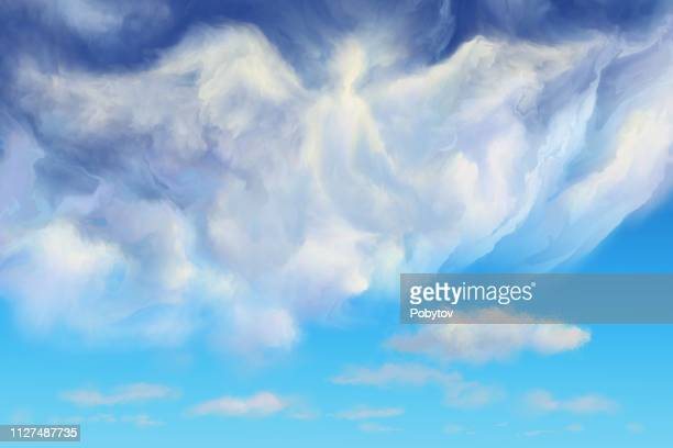 angel in the clouds - angel stock illustrations