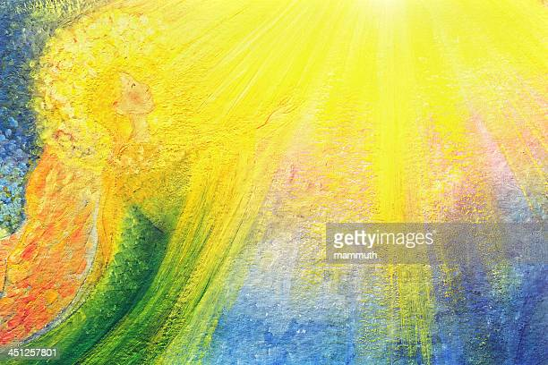 angel in the light - heaven stock illustrations