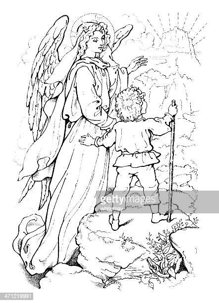 Angel leading a small child to paradise - Victorian drawing