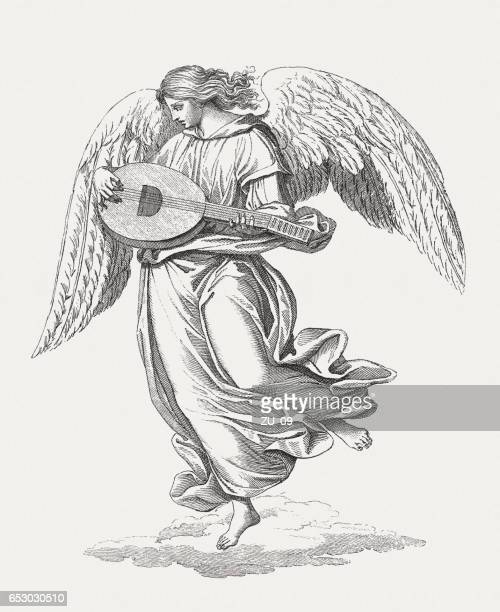 angel musician, painted (1499-1505) by luca signorelli, san brizio, orvieto - high renaissance stock illustrations