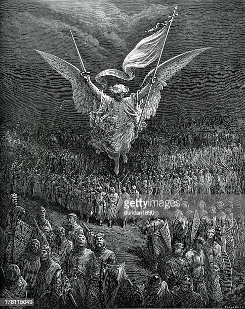 angel of victory and the first crusaders - gustave dore stock illustrations, clip art, cartoons, & icons