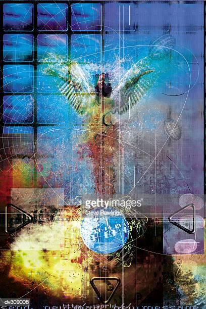 angel on globe in futuristic setting - animal limb stock illustrations, clip art, cartoons, & icons