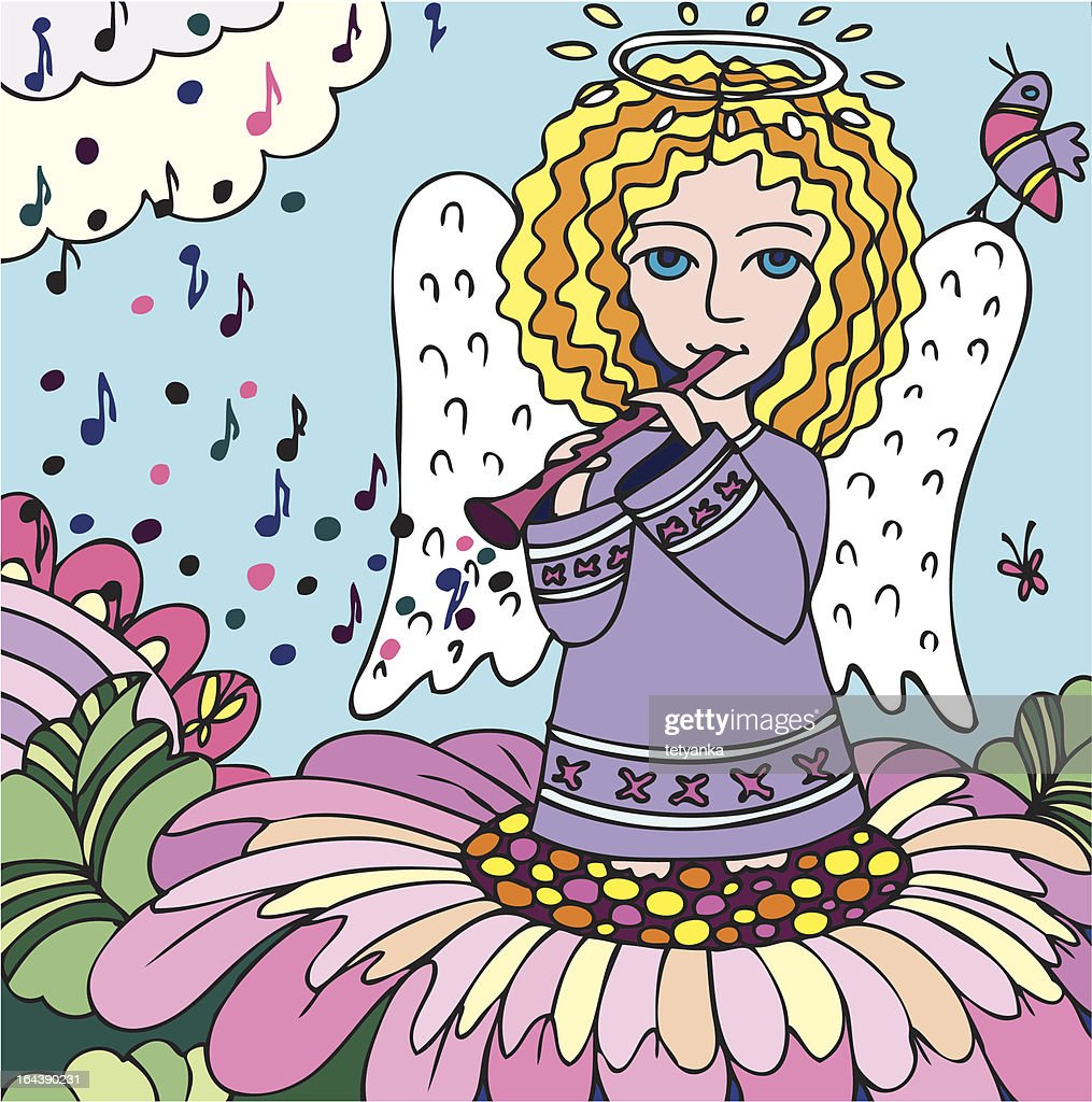 Angel play the flute