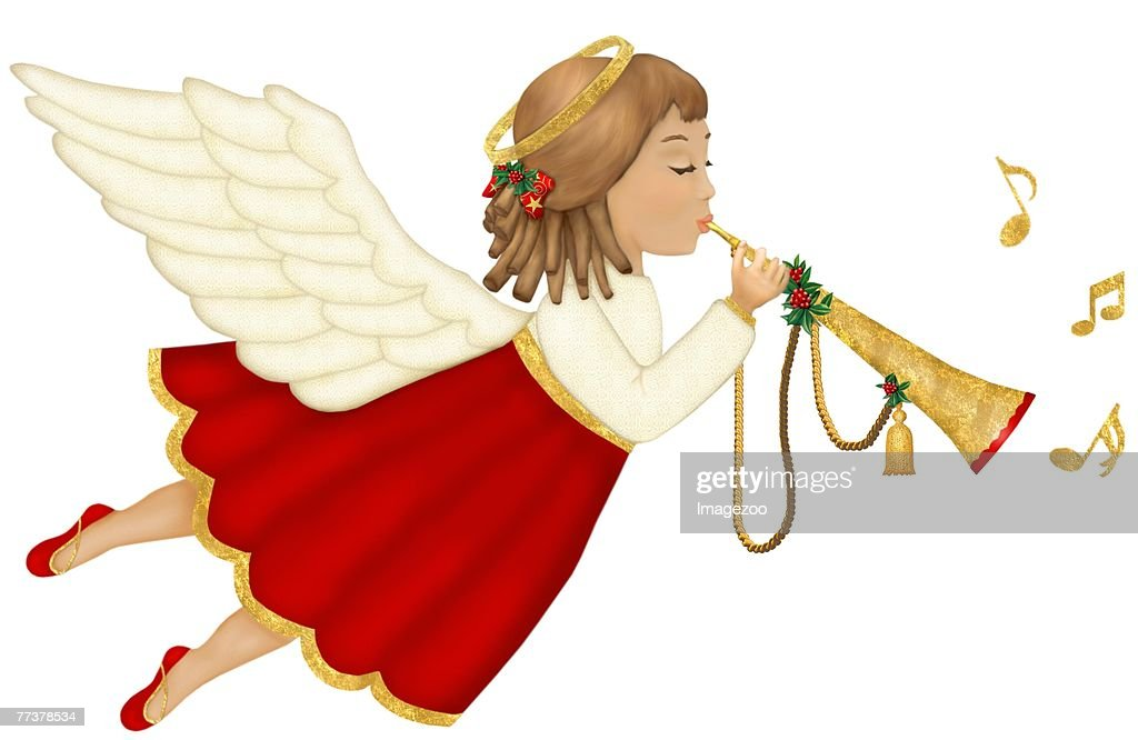 angel playing music : Illustration