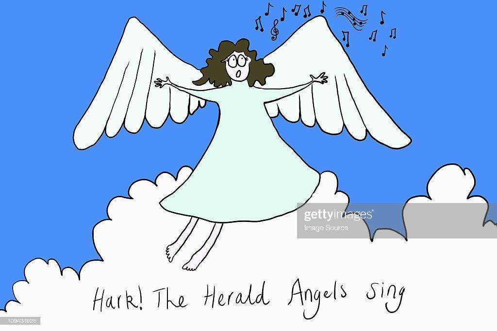 Angel Singing Hark The Herald Angels Sing Illustration stock