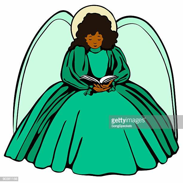 ilustraciones, imágenes clip art, dibujos animados e iconos de stock de ángel con la piel marrón - personas leyendo la biblia