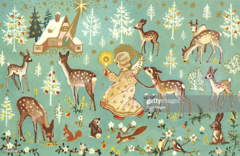 Angel With Forest Animals : stock illustration