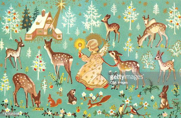 angel with forest animals - one girl only stock illustrations, clip art, cartoons, & icons