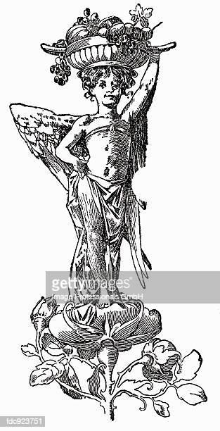 ilustrações de stock, clip art, desenhos animados e ícones de angel with fruit bowl (illustration) - cesta de fruta
