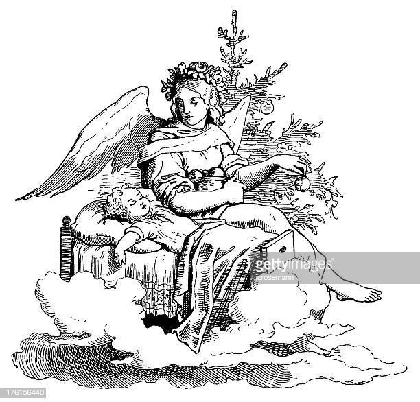 ilustrações de stock, clip art, desenhos animados e ícones de anjo com a criança - bebe chegando