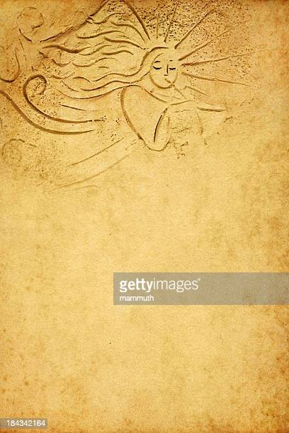 angel with trumpet on old paper - dirty easter stock illustrations