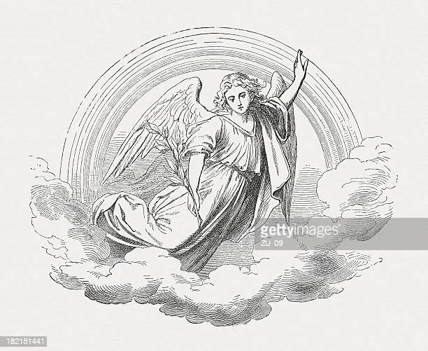 angel, wood engraving, published in 1877 - angel stock illustrations