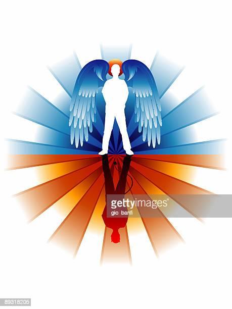 ilustraciones, imágenes clip art, dibujos animados e iconos de stock de angel diablo - los siete pecados capitales