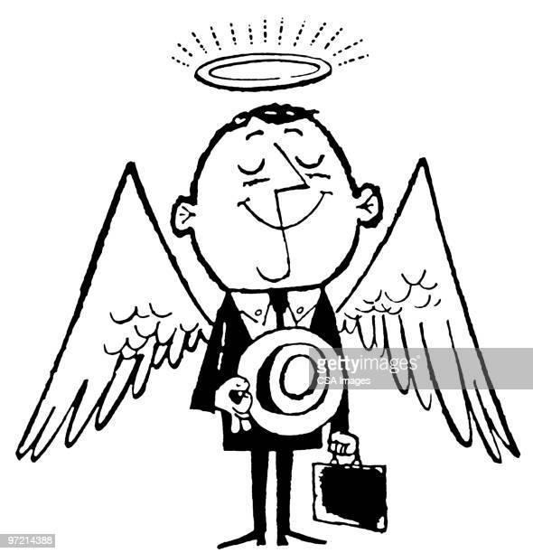 angelic businessman - heroes stock illustrations