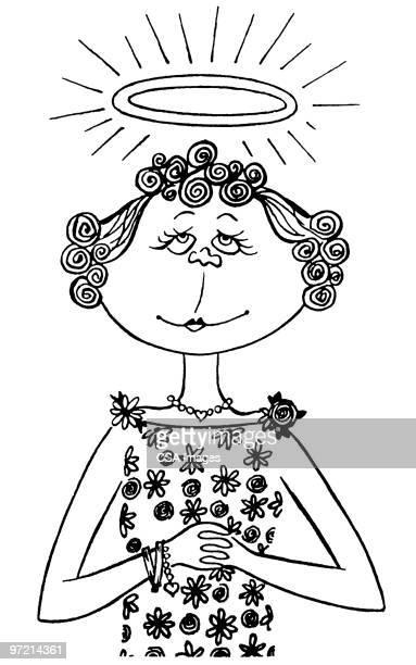 angelic woman - halo symbol stock illustrations