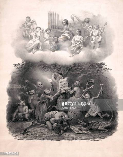 angels playing music in heaven, harpies playing music in hell - greek mythology stock illustrations